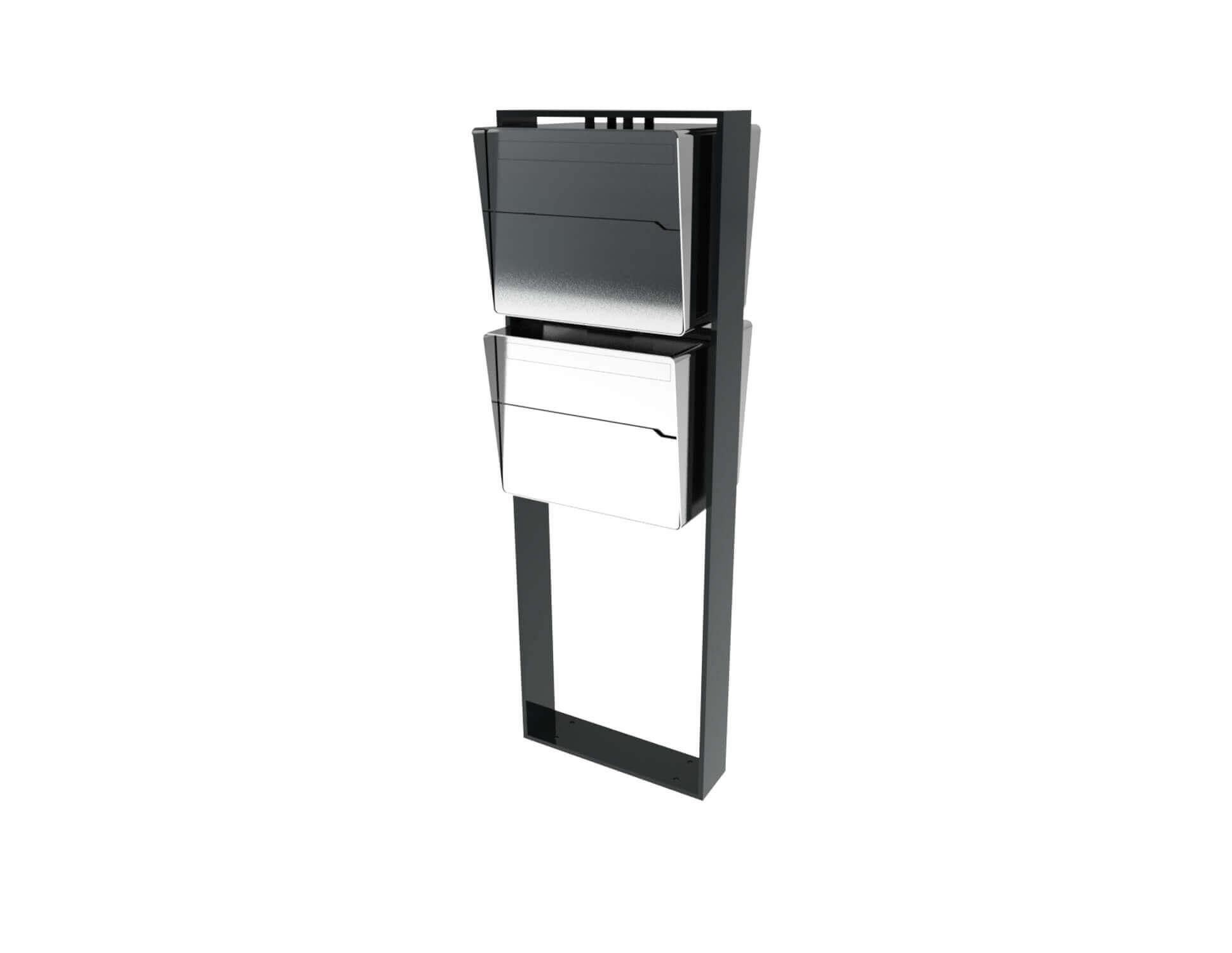Freistehender moderner Briefkastenanlage Edelstahl Bellus 2er Vertikal