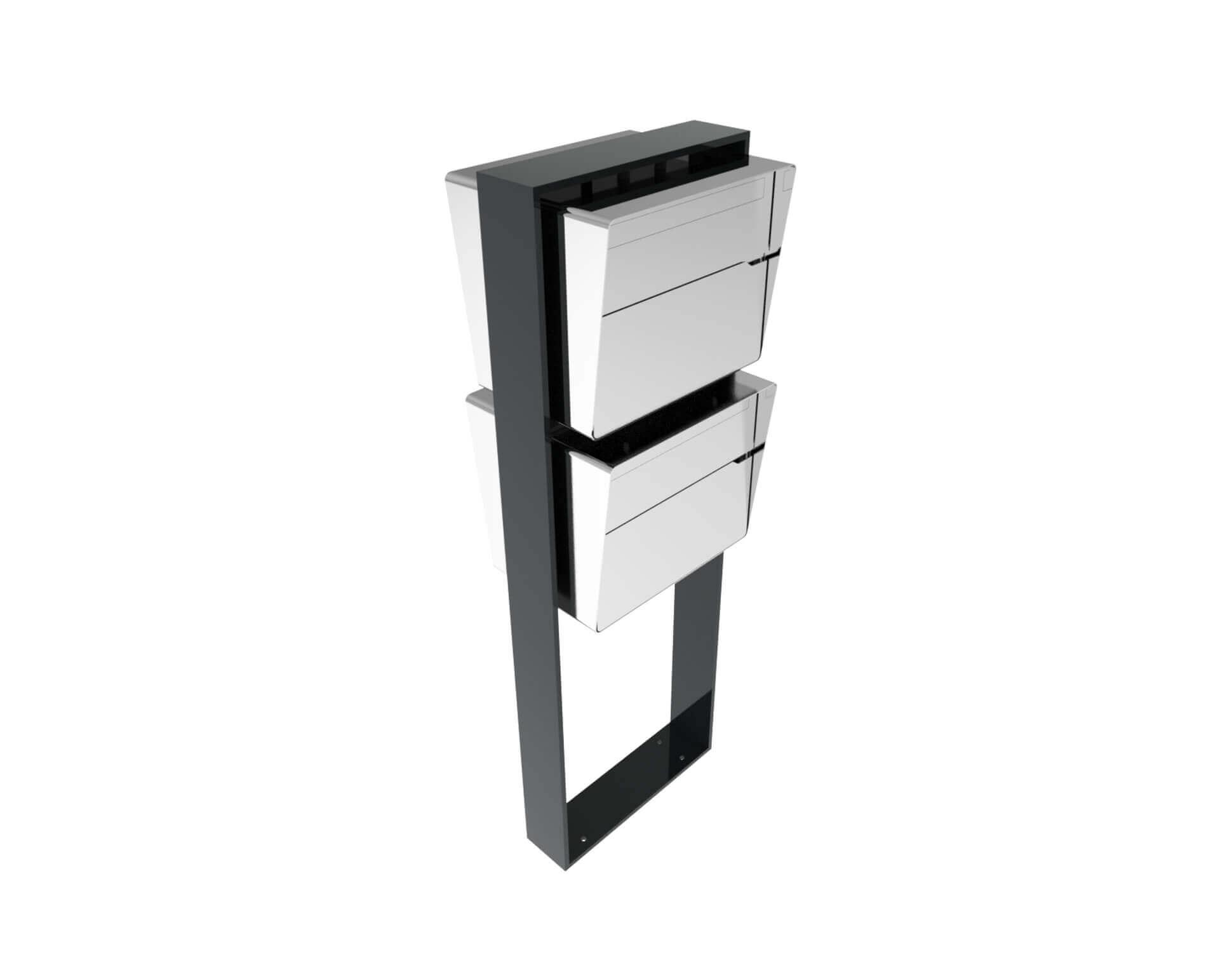 Freistehende Designer Briefkastenanlage Bellus 2er Vertikal