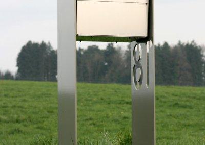 Designer Briefkasten Chromstahl mit Perlmausgrau